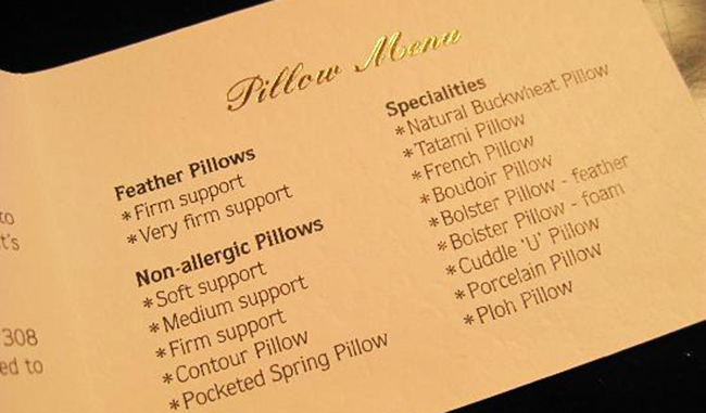 Pillow menu